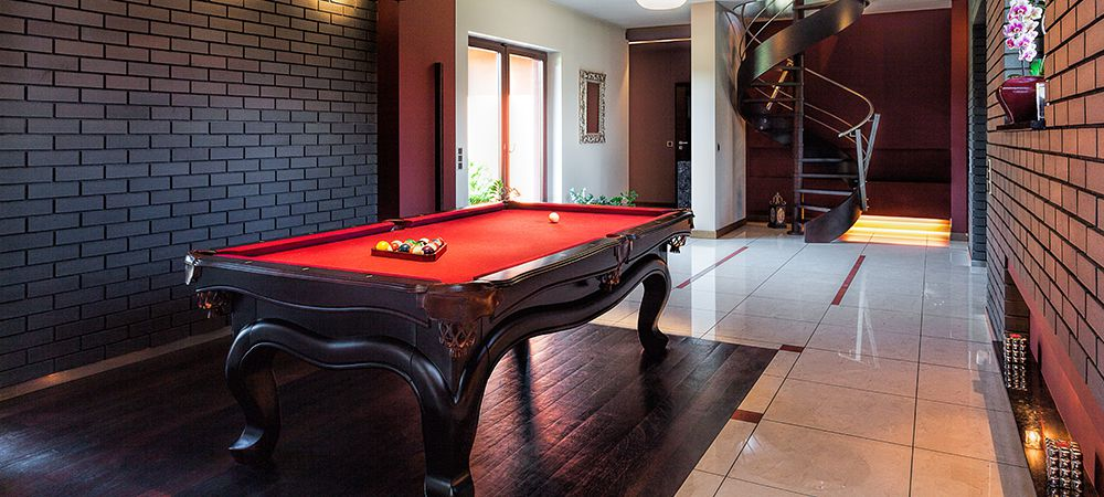 game room in the basement